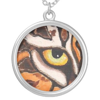 TIGER EYE Cool semi-abstract art silver necklace! Round Pendant Necklace