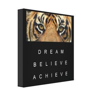 tiger eyes achievement motivational quote canvas print