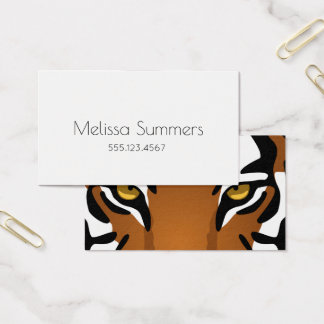 Tiger Eyes - Bold White Minimalist Personal Business Card