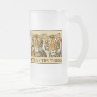 Tiger Eyes Frosted Glass Beer Mug