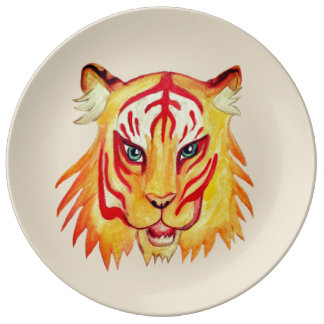 Tiger Face  Drawing  Decorative Porcelain Plate