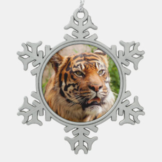 Tiger face pewter snowflake ornament