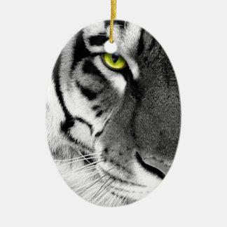 Tiger face - white tiger - eyes tiger - tiger ceramic ornament