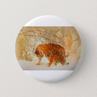 Tiger Family in a Blizzard - PaintingZ 6 Cm Round Badge
