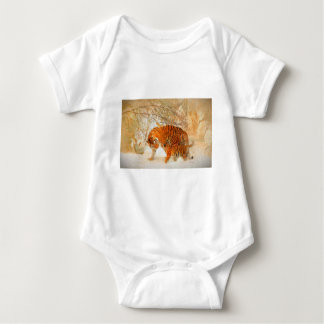 Tiger Family in a Blizzard - PaintingZ Baby Bodysuit