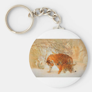 Tiger Family in a Blizzard - PaintingZ Key Ring