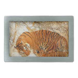 Tiger Family in a Blizzard - PaintingZ Rectangular Belt Buckle