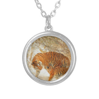 Tiger Family in a Blizzard - PaintingZ Silver Plated Necklace