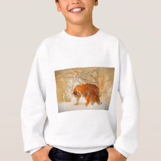 Tiger Family in a Blizzard - PaintingZ Sweatshirt