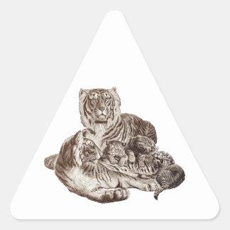 Tiger Family Triangle Sticker
