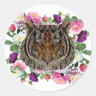 tiger flowers design classic round sticker