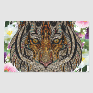 tiger flowers design rectangular sticker