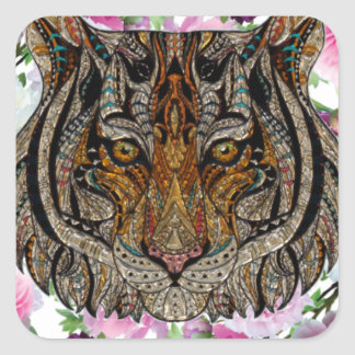 tiger flowers design square sticker