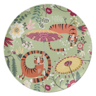 Tiger garden green plate