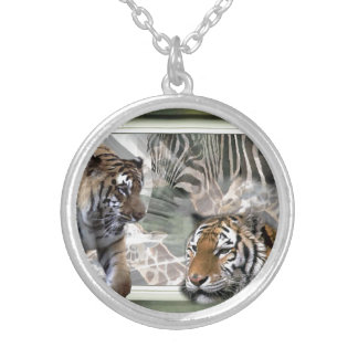 Tiger Giraffe Zebra Lovers Silver Plated Necklace