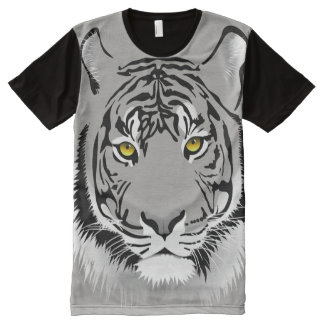 Tiger Head and Eyes Picture Print Design All-Over Print T-Shirt