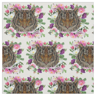 Tiger Head and flowers fabric design