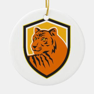 Tiger Head Front Crest Retro Ceramic Ornament