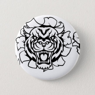 Tiger Holding Cricket Ball Breaking Background 6 Cm Round Badge