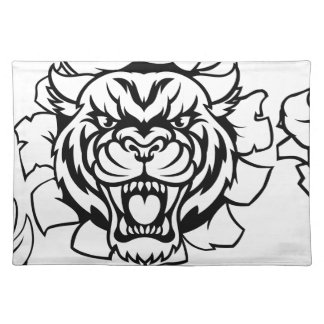 Tiger Holding Cricket Ball Breaking Background Placemat
