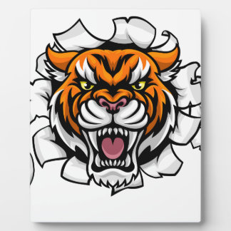 Tiger Holding Tennis Ball Breaking Background Plaque