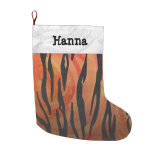 Tiger Hot orange and Black Print Large Christmas Stocking