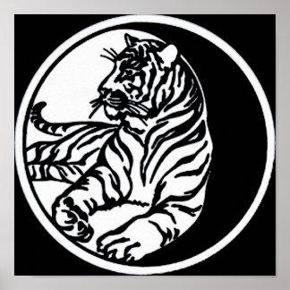 Tiger Illustration in White Print