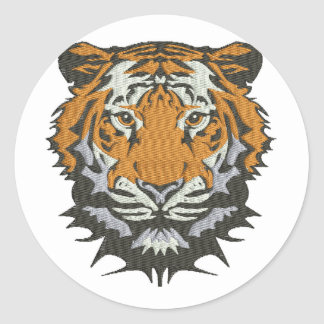 tiger imitation of embroidery classic round sticker