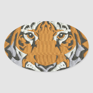 tiger imitation of embroidery oval sticker