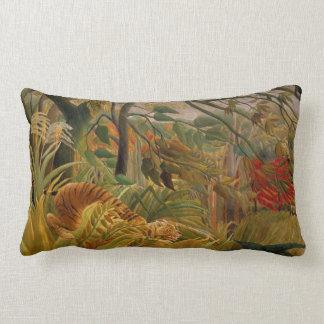 Tiger in a Tropical Storm by Henri Rousseau Lumbar Cushion