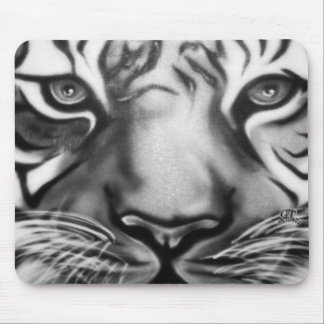 Tiger in Black and White Mouse Pad