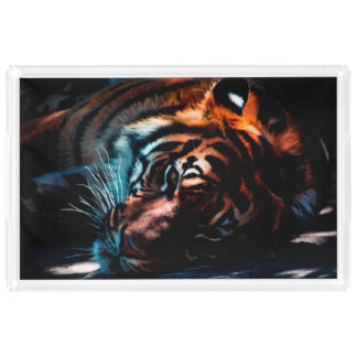 Tiger In Repose Serving Tray