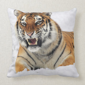 Tiger in Snow Pillow
