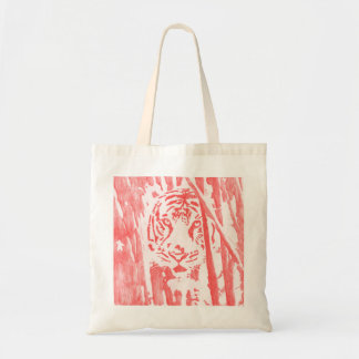 Tiger in the Bamboo Tote Bag -- Red