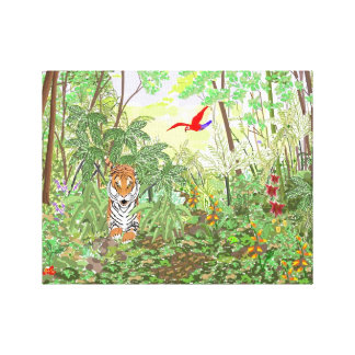 Tiger in the Rainforest Stretched Canvas Print
