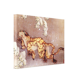 Tiger in the snow by Hokusai Gallery Wrap Canvas