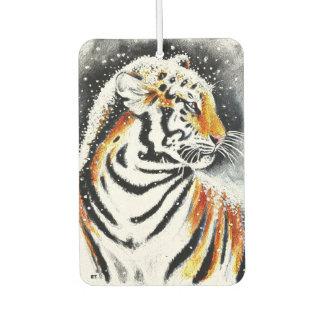 Tiger In The snow noir Car Air Freshener