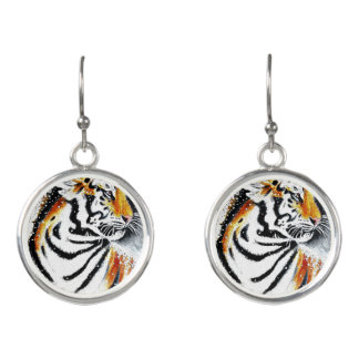 Tiger In The snow noir Earrings