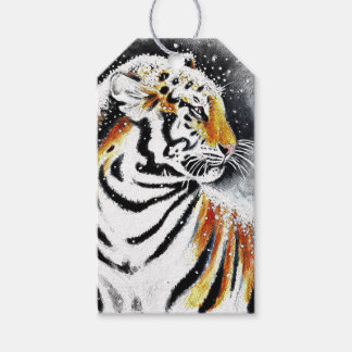 Tiger In The snow noir Gift Tags