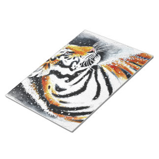 Tiger In The snow noir Notepad