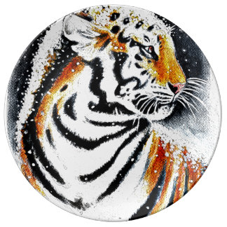 Tiger In The snow noir Plate