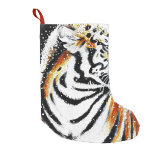 Tiger In The snow noir Small Christmas Stocking