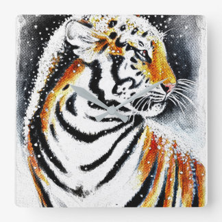 Tiger In The snow noir Square Wall Clock