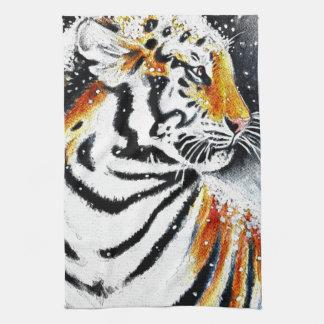 Tiger In The snow noir Tea Towel