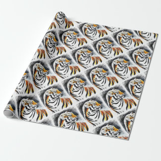 Tiger In The snow noir Wrapping Paper