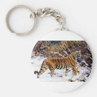 Tiger in the Snow Wild Cat Basic Round Button Key Ring
