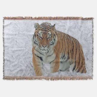 Tiger in white snowflakes throw blanket