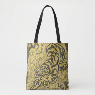 Tiger in yellow and black, stylized artwork tote bag