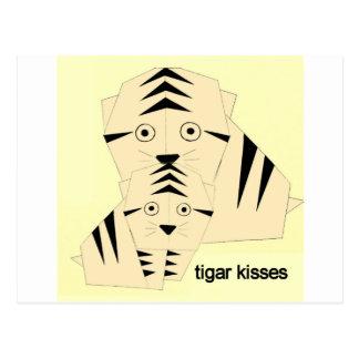 tiger kisses postcard