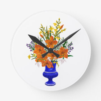 Tiger Lily Bouquet in Blue Vase Round Clock